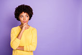 istock Portrait of her she nice attractive charming lovely creative wavy-haired girl creating strategy brainstorming isolated over violet purple lilac pastel color background 1181209880