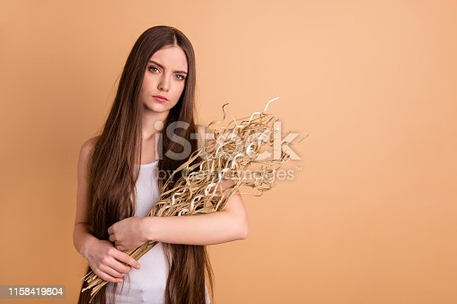 Portrait of her she nice attractive serious lady holding in hands dried flower, messy thin weak ends recovery season spring springtime moisturizing isolated on beige background