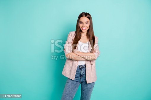 Portrait of her she nice-looking attractive lovely pretty cheerful cheery, content straight-haired girl folded arms isolated over bright vivid shine blue green teal turquoise background