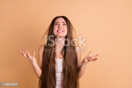 istock Portrait of her she nice-looking cute attractive devastated displeased miserable lady showing despair grief repair loose lose loss hair disaster isolated on beige pastel background 1158419731