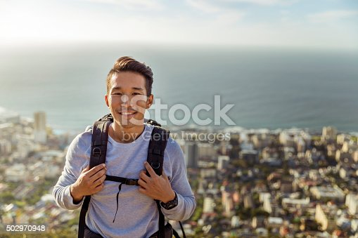 istock Portrait of hiker smiling against sea 502970948