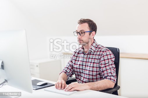 660311448 istock photo Portrait of hipster graphic designer creative working on his computer. 1142845910