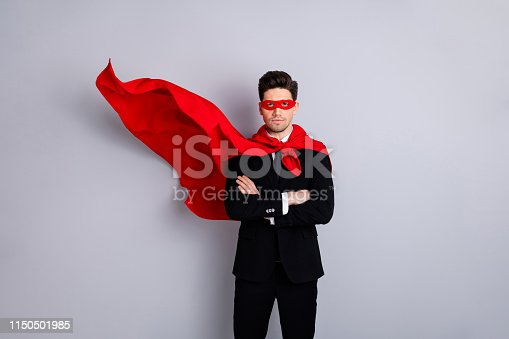 Portrait of his he nice attractive confident strong virile macho incognito guy wearing bright super look outfit mantle accessory best motivation isolated over light gray background.