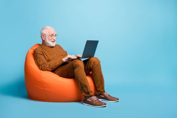 Portrait of his he nice attractive focused bearded grey-haired man sitting in bag chair using laptop writing email letter browsing web wi-fi isolated over blue pastel color background stock photo