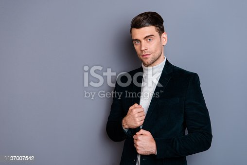 Portrait of his he nice handsome attractive classy chic bearded guy wearing velveteen blazer sweater isolated over gray violet purple pastel background.