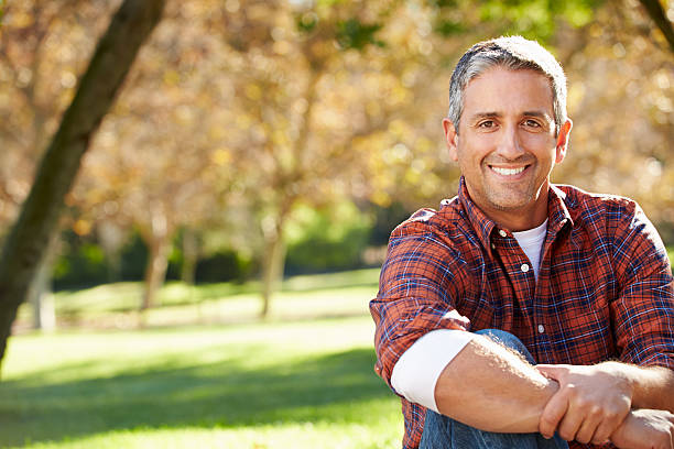 Portrait Of Hispanic Man In Countryside stock photo
