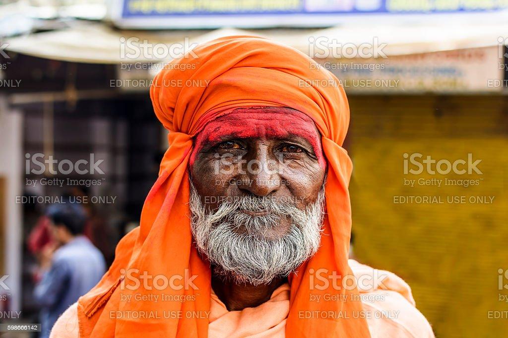 Portrait of holy man on pilgrimage to holy Pushak Lake stock photo