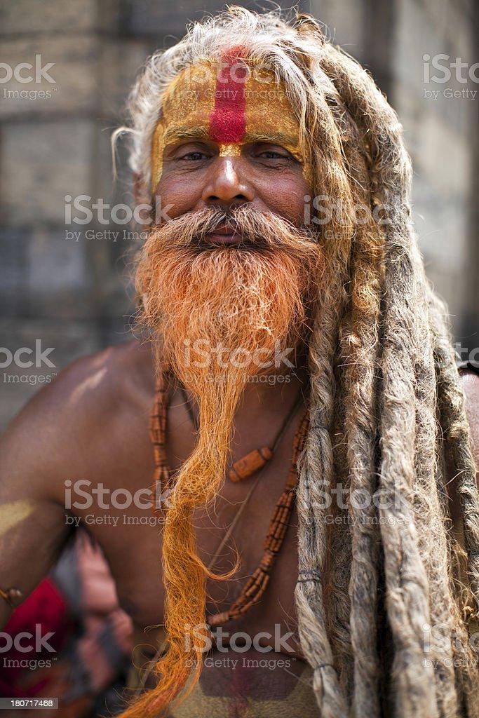 Portrait of Holy Sadhu man royalty-free stock photo
