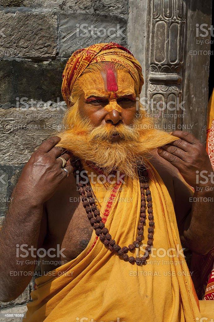 Portrait of Holy Sadhu man stock photo