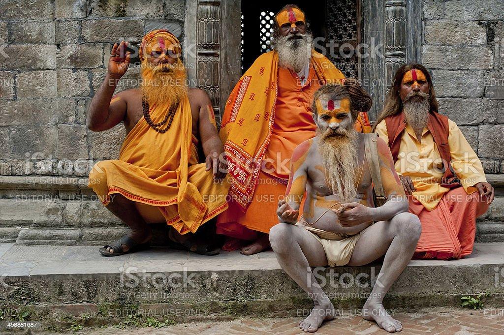 Portrait of Holy Sadhu men stock photo