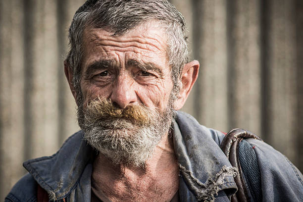 portrait of homeless man - homelessness stock photos and pictures