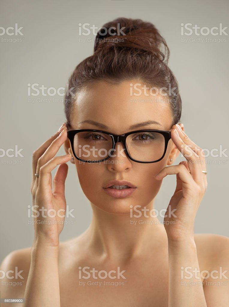 Portrait Of Hot Sexy Naked Woman Wearing Glasses Stock Photo