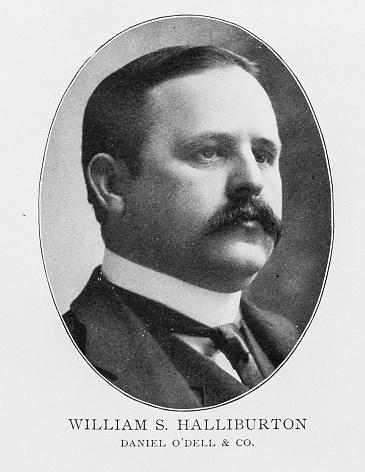Portrait of important men of the 19th century New York Stock Exchange: William S Halliburton