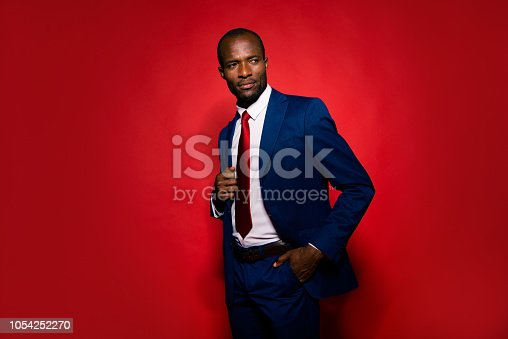 Portrait of imposing elegant handsome man in sophisticated style jacket and tuxedo look aside hold hand in pocket stand half turn isolated on red bright background with copy space for text