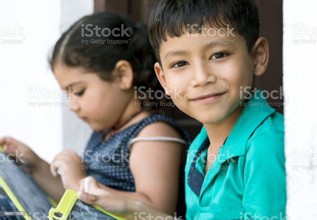 Portrait of Indian boy and girl stock photo
