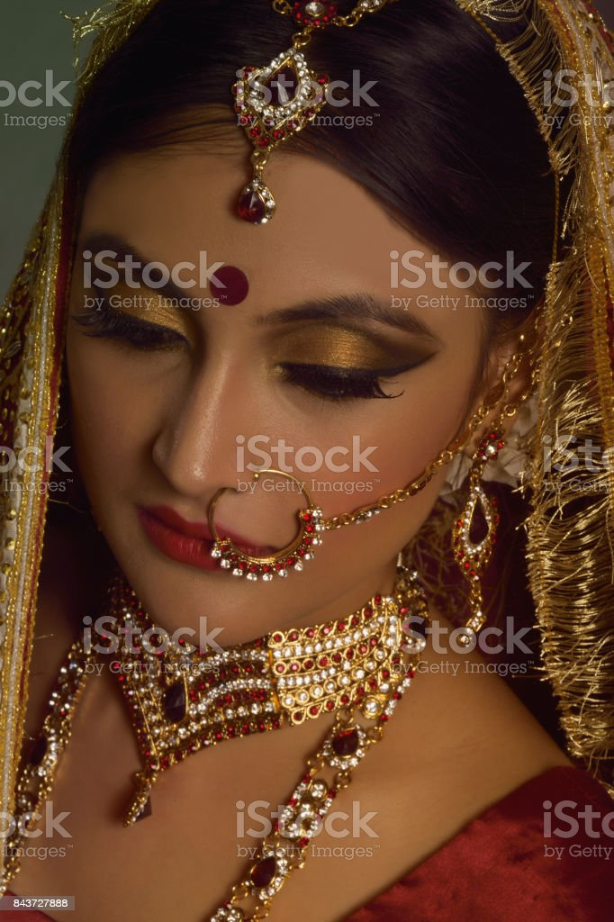 Portrait of Indian Bride stock photo