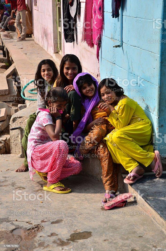 Portrait of Indian children in a village in Jodhpur, india. stock photo
