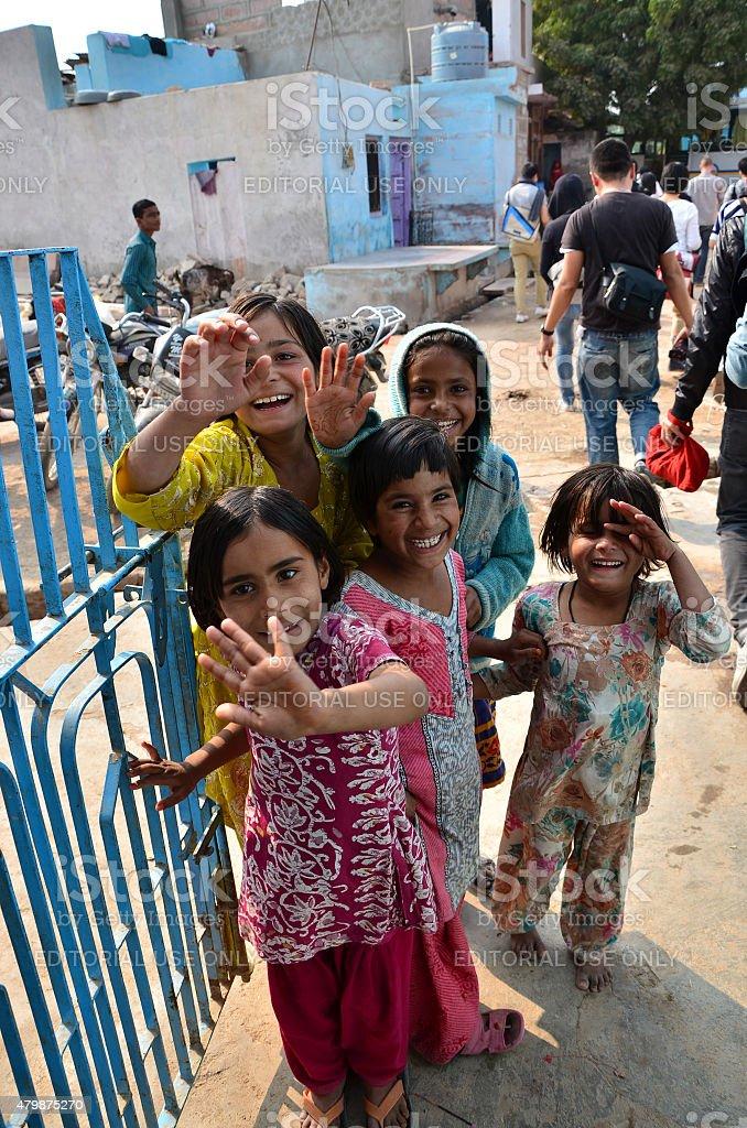 Portrait of Indian children in Jodhpur, india. stock photo