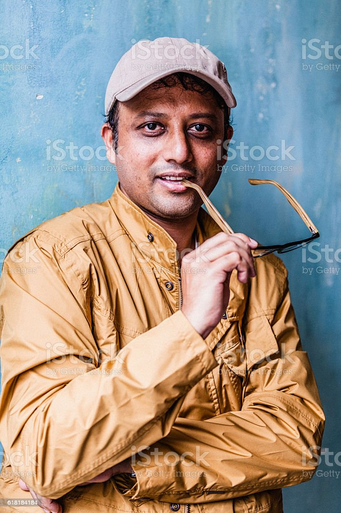 Portrait of Indian man smiling stock photo