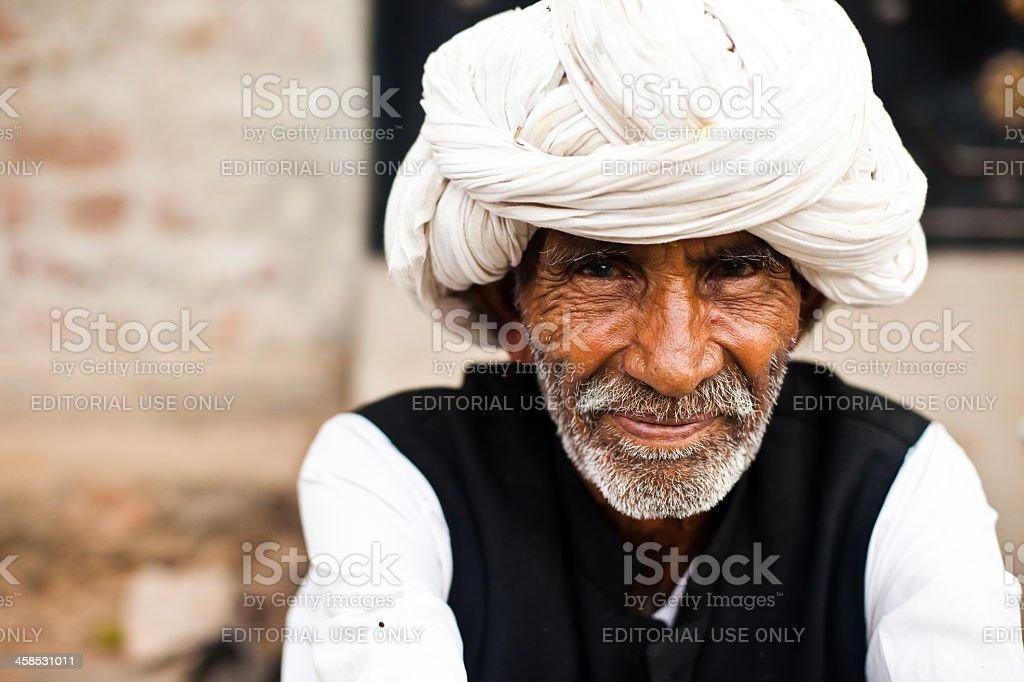 Portrait of Indian Man Wearing White Turban stock photo