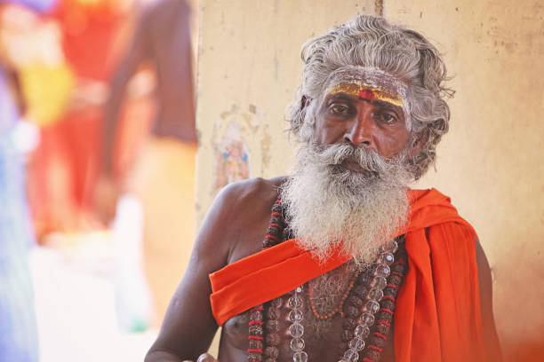Portrait of Indian Sadhu Portrait of Indian Sadhu Posing to Camera yogi stock pictures, royalty-free photos & images
