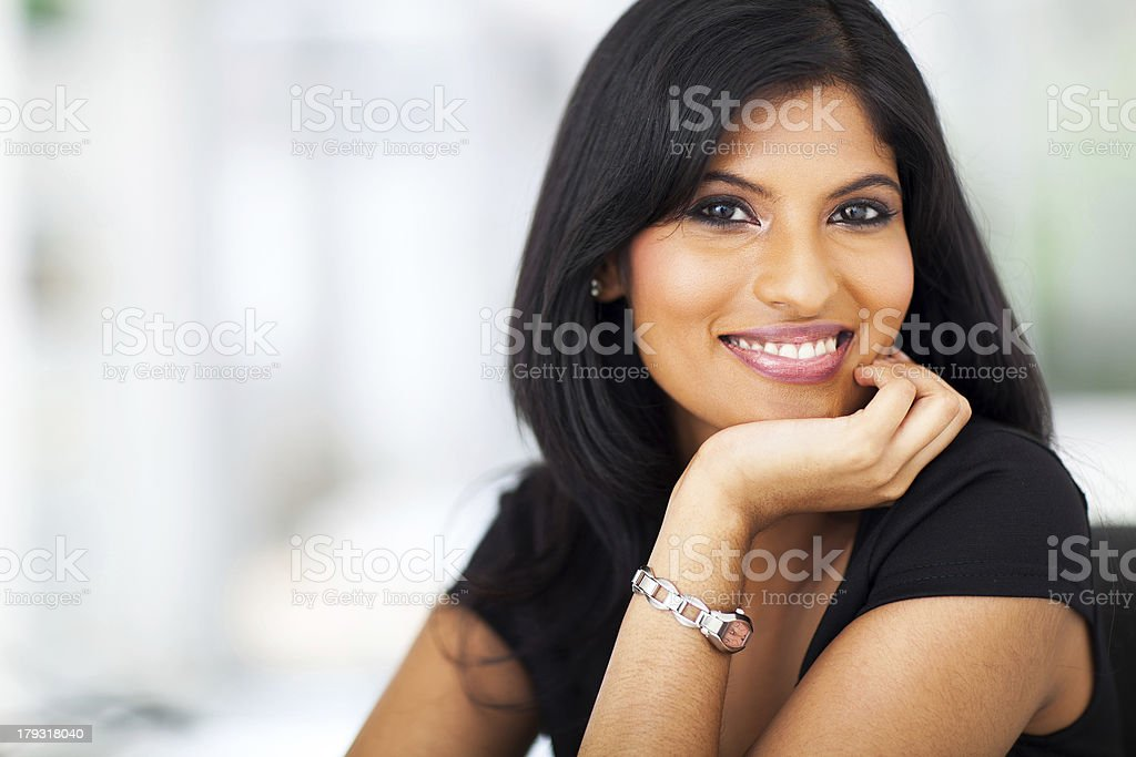 portrait of indian smiling businesswoman stock photo