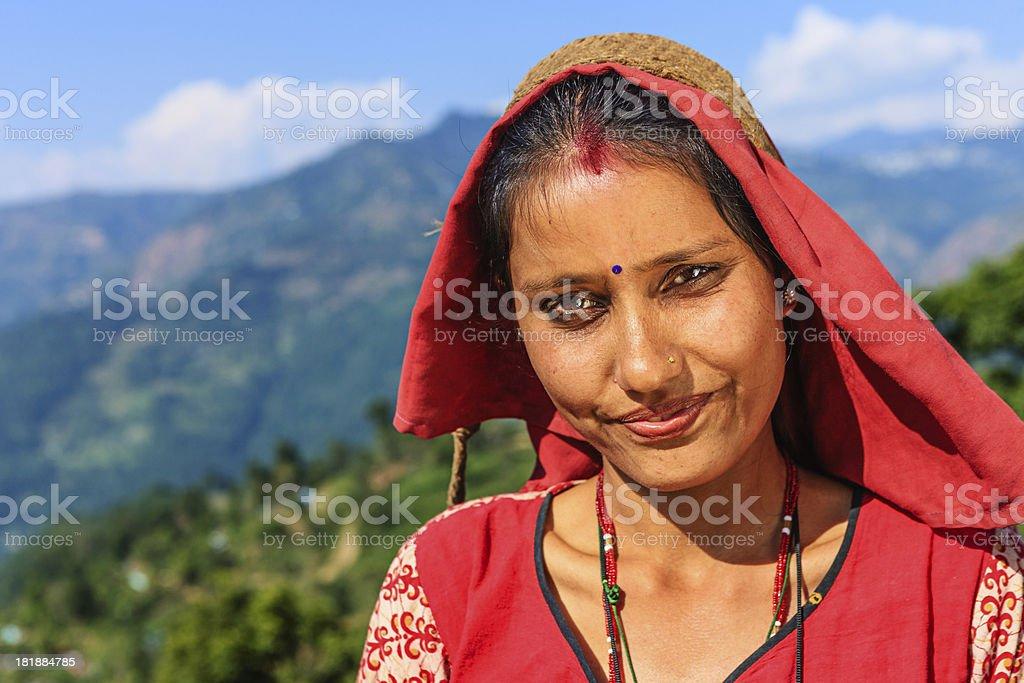 Portrait of Indian tea leaves  picker in Darjeeling, India royalty-free stock photo