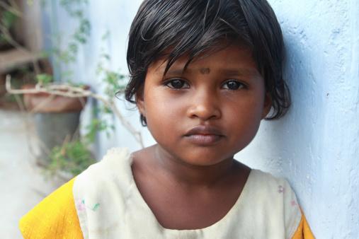 Portrait Of Indian Village Poor Girl Stock Photo - Download Image Now