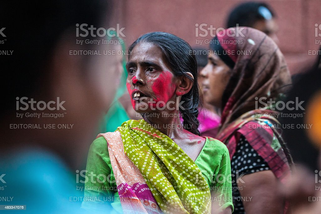 Portrait of Indian woman in the crowd royalty-free stock photo