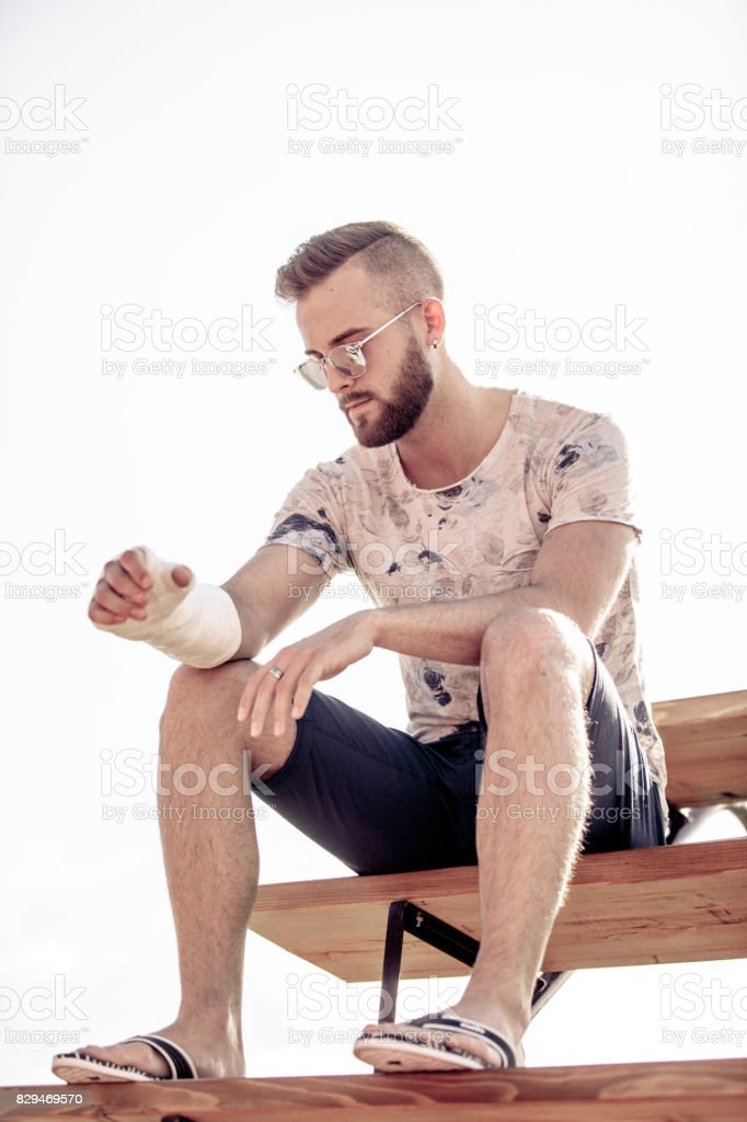 Portrait of Injured Athlete stock photo