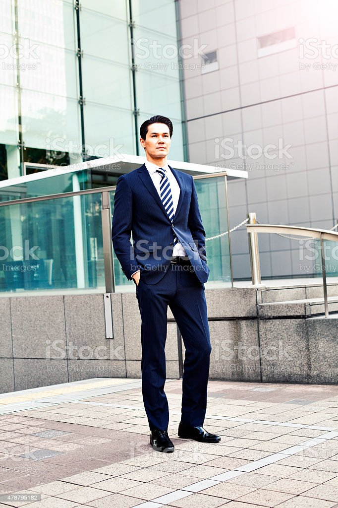 Portrait of japanese businessman in Tokyo stock photo