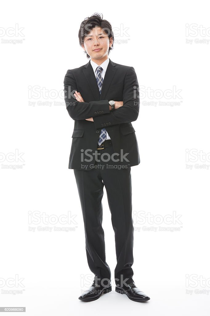 Portrait of Japanese businessman in white background foto royalty-free