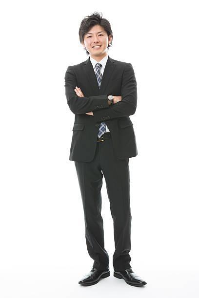 portrait of japanese businessman in white background - 全身 ストックフォトと画像