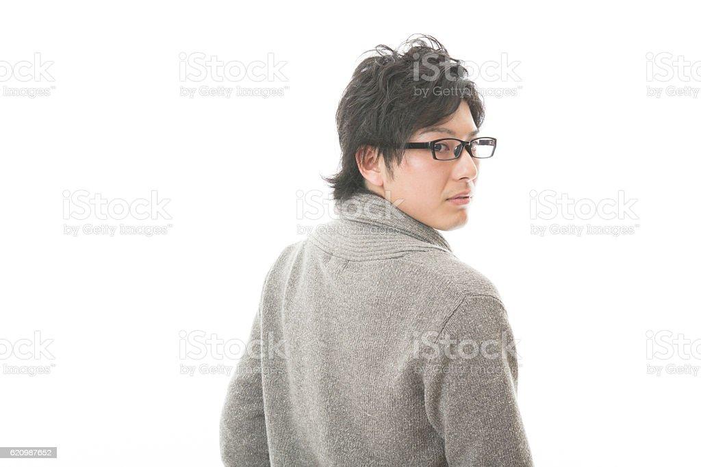 Portrait of Japanese man wearing eyeglasses foto royalty-free
