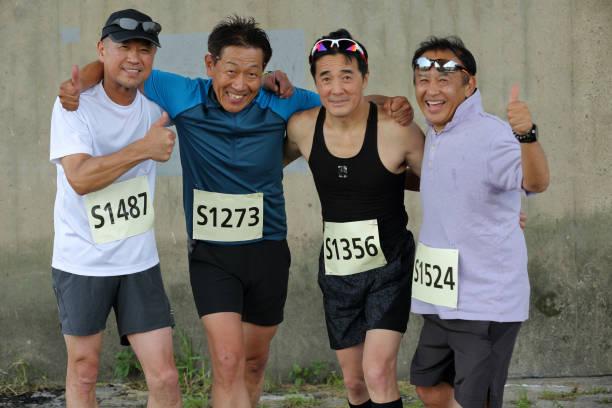 portrait of Japanese sportsman stock photo