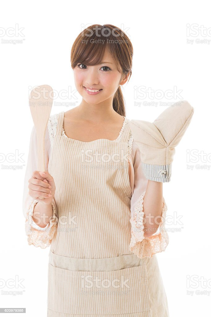 Portrait of Japanese woman wearing apron foto royalty-free