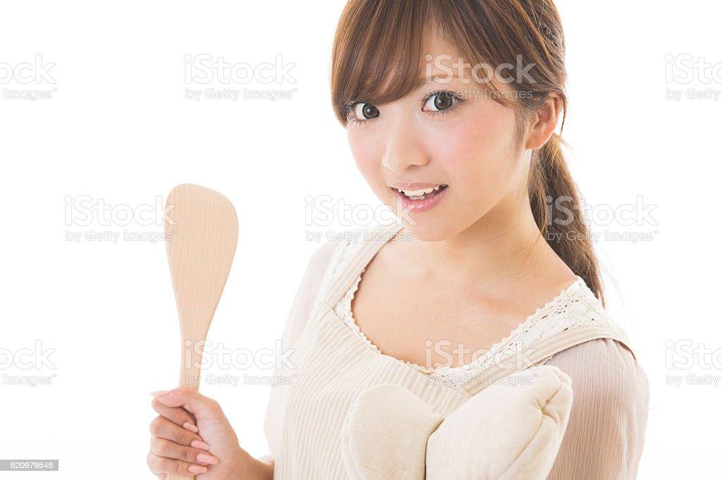 Portrait of Japanese woman wearing apron foto royalty-free