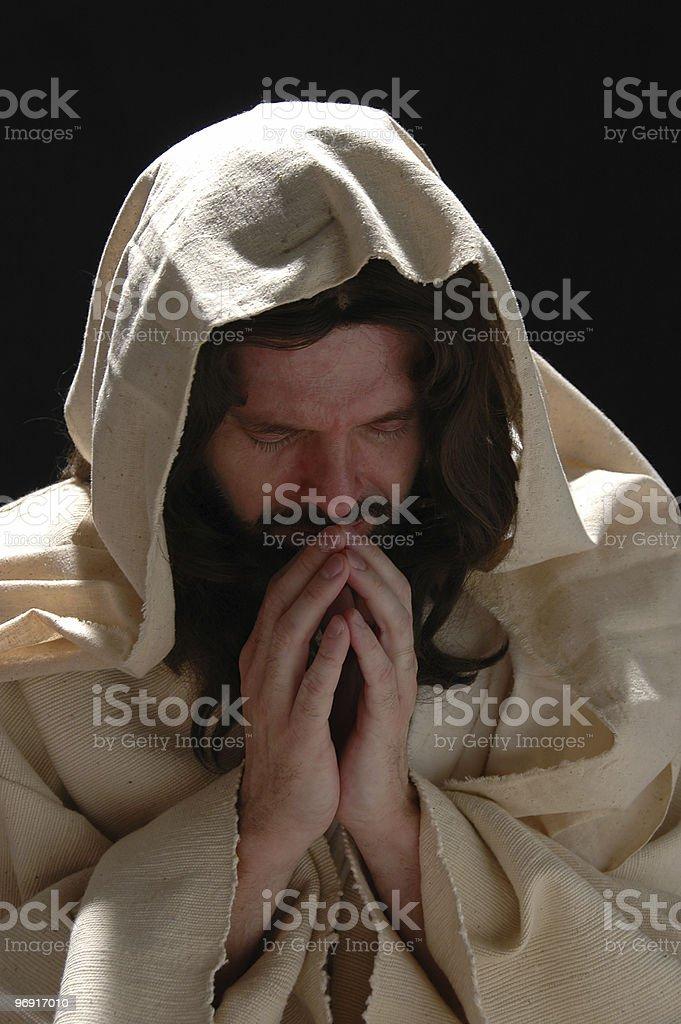 Portrait of Jesus in prayer royalty-free stock photo