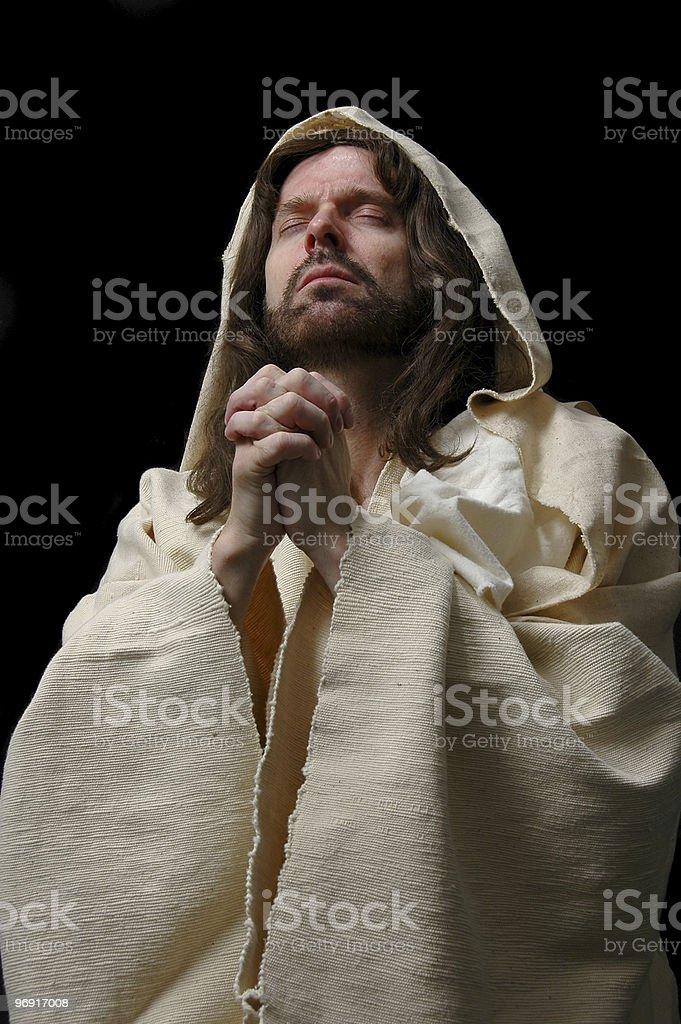 Portrait of Jesusin prayer royalty-free stock photo