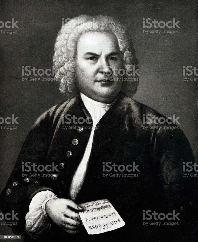 Portrait of Johann Sebastian Bach,  german composer, 1685-1750 stock photo