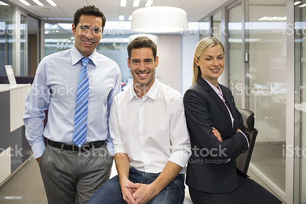 Portrait of joyful business team office background royalty-free stock photo