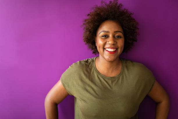 Portrait of Joyful young woman with Afro hair stock photo