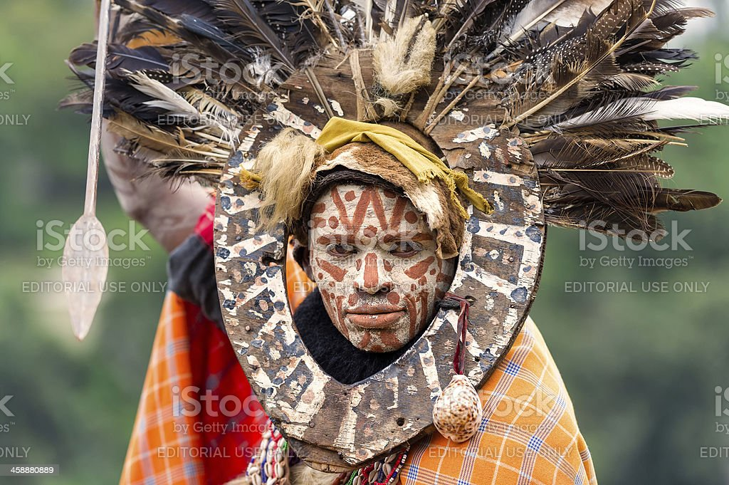 Portrait of Kikuyu Tribesman with painted face at Thompson Falls stock photo