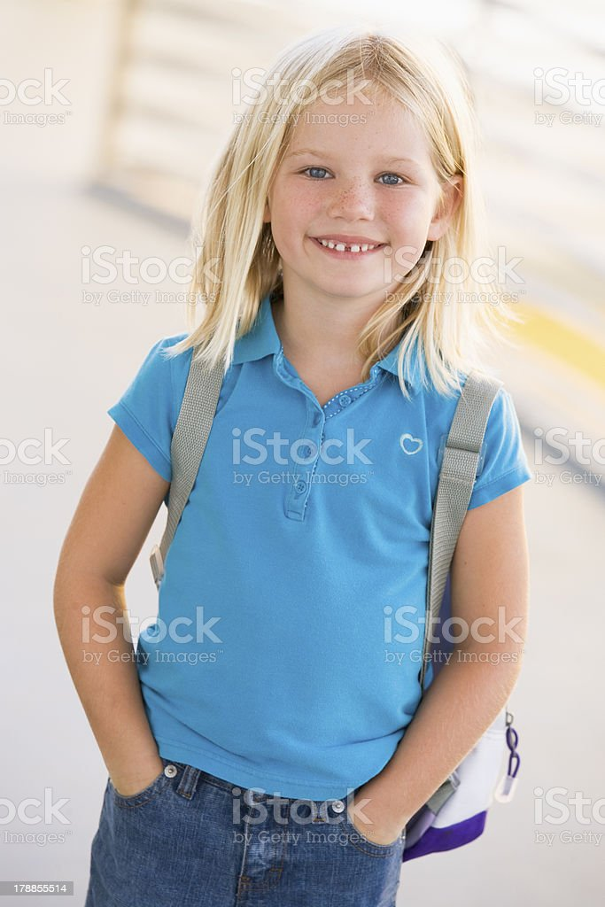 Portrait of kindergarten girl with backpack royalty-free stock photo