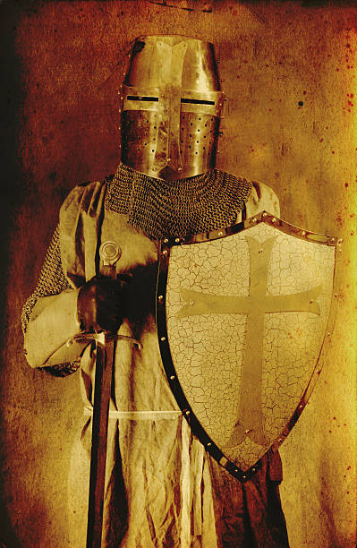 portrait of knight in historical crusade dress - the crusades stock photos and pictures