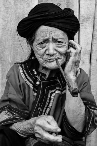Portrait of Laos Hilltribe Woman stock photo