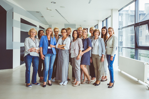 Portrait Of Large Group Of Happy Women On Seminar Stock Photo - Download Image Now