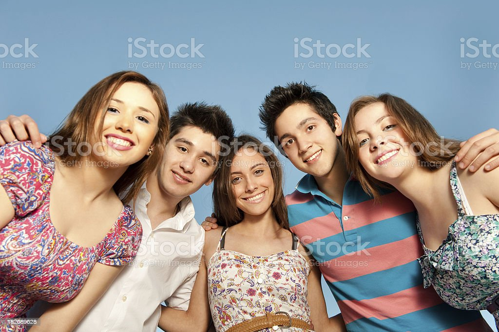 Portrait of latin friends royalty-free stock photo