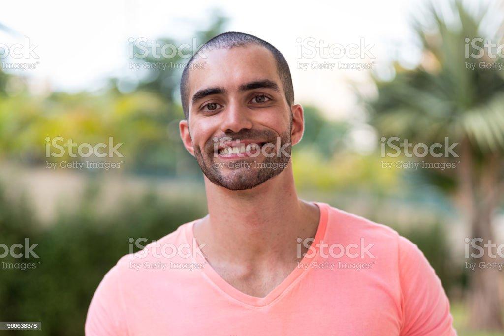 Portrait of latino man smiling stock photo