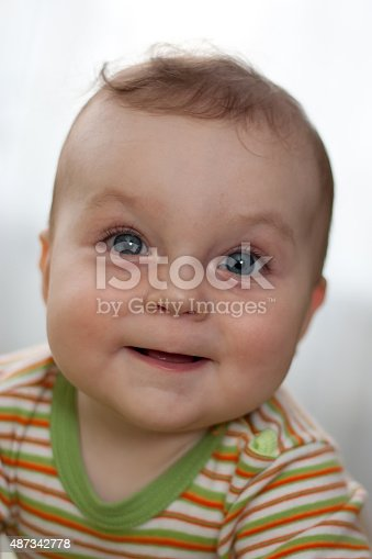 149051793 istock photo Portrait of laughing little boy with big eyes 487342778